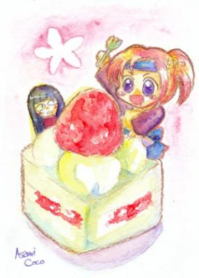 桃子とケーキ